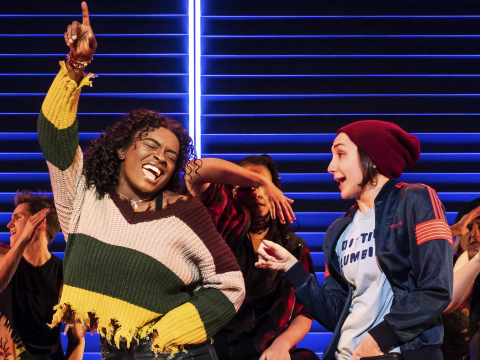 "Celia Rose Gooding, left, is seen with the company of ""Jagged Little Pill"" during a performance in this image released by Vivacity Media Group."
