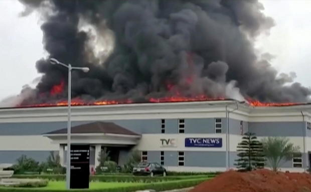 Roof of TVC television station in flames in Lagos
