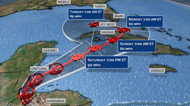 A graphic shows the probable path of Tropical Depression Eta as of November 5, 2020.