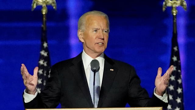 Democratic 2020 U.S. presidential nominee Joe Biden addresses supporters at an election rally, after news media announced that Biden has won the 2020 U.S. presidential election, in Wilmington, Delaware