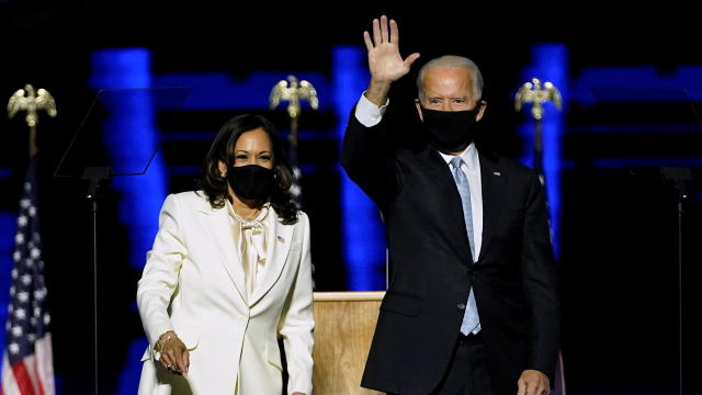 Democratic vice-presidential nominee Kamala Harris introduces Democratic 2020 U.S. presidential nominee Joe Biden at an election rally, after news media announced that Biden has won the 2020 U.S. presidential election, in Wilmington, Delaware