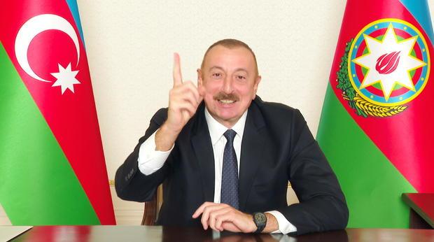 Azerbaijan's President Aliyev addresses the nation in Baku