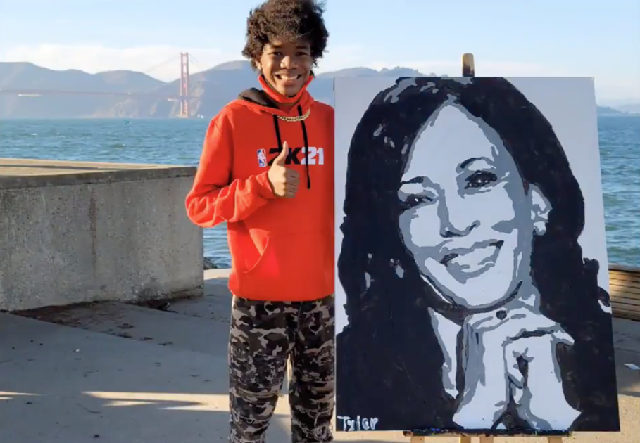 Kamala Harris calls teen who went viral for painting her portrait