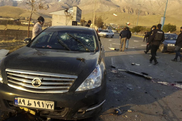 A photo released by the semi-official Fars News Agency shows the scene where Mohsen Fakhrizadeh was killed in Absard, a small city just east of the capital, Tehran, Iran, on November 27, 2020.