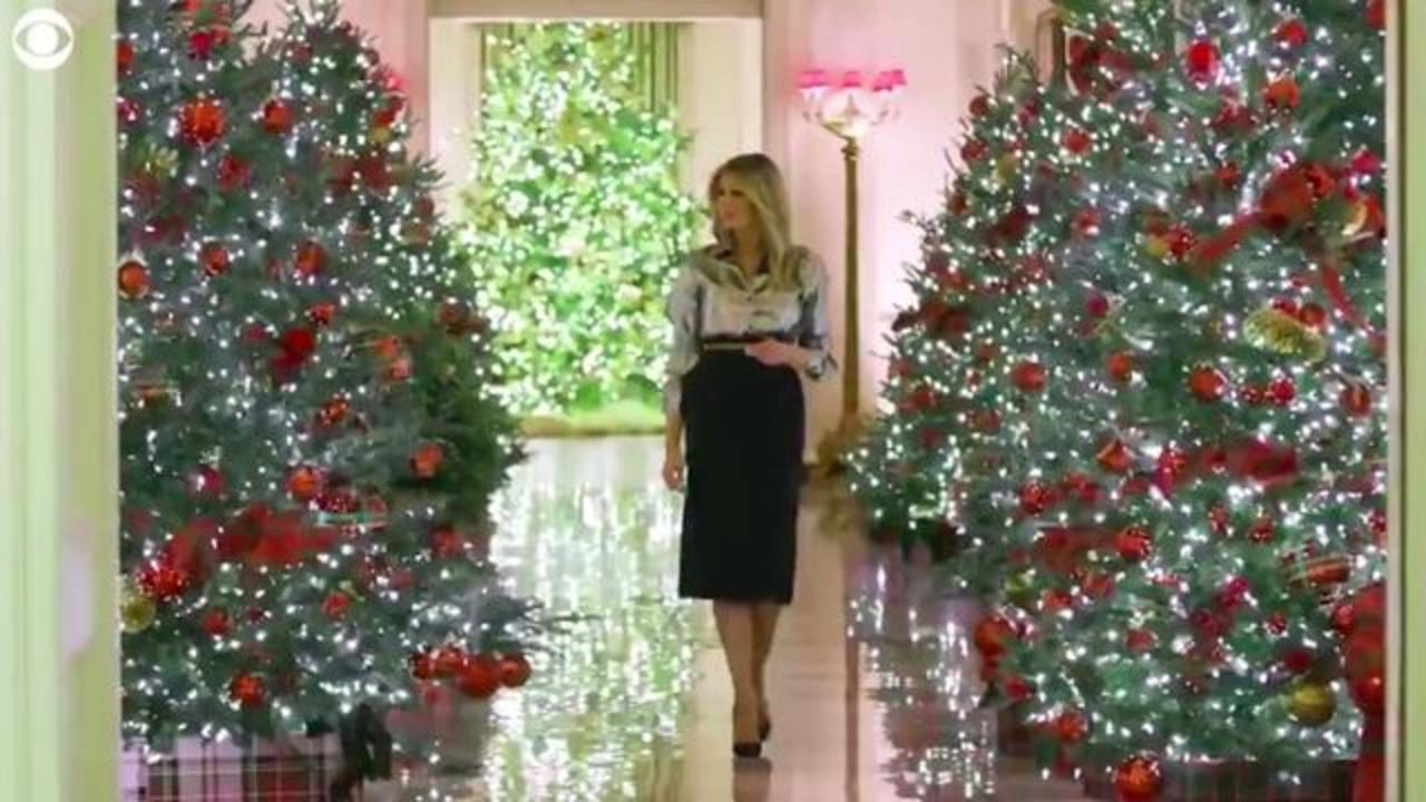 Trump 2021 Christmas Message President Trump And First Lady Melania Wear Matching Tuxedos In Final White House Christmas Card Cbs News