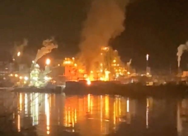 View of fires at Chemours chemical plant following explosion in Belle, West Virginia