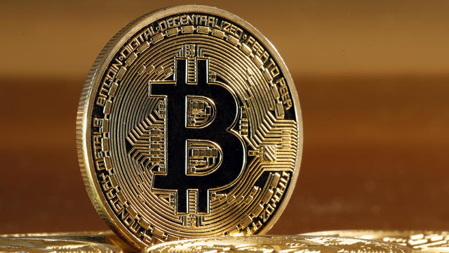 Novelty Coins Representing The Bitcoin Cryptocurrency : Illustration