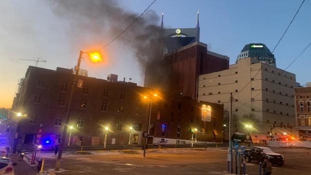 Smoke rises over building in downtown Nashville