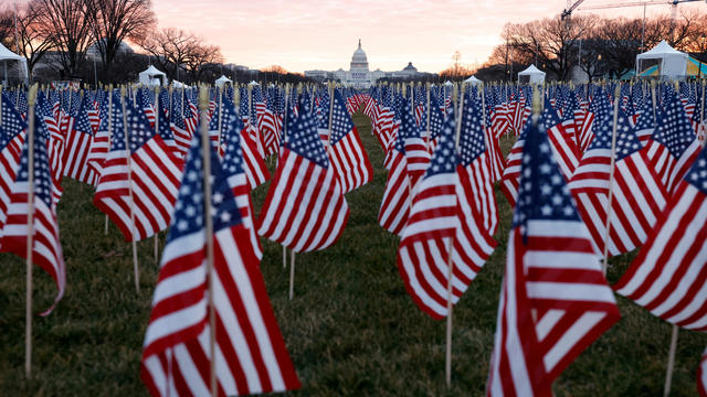 Thousands of U.S. flags are seen at the National Mall as part of a memorial paying tribute to people across the country who have died from the coronavirus, near the U.S. Capitol ahead of President-elect Joe Biden's inauguration, in Washington, January 18,