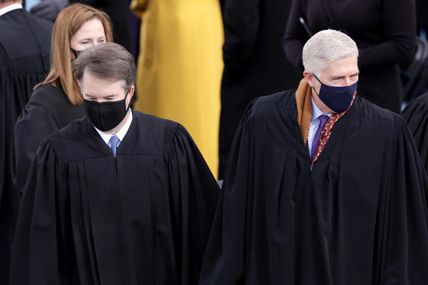 U.S. Supreme Court Justices Brett Kavanaugh, Amy Coney Barrett and Neil M. Gorsuch at Biden's inauguration