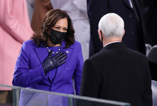 Kamala Harris greets Mike Pence at Inauguration