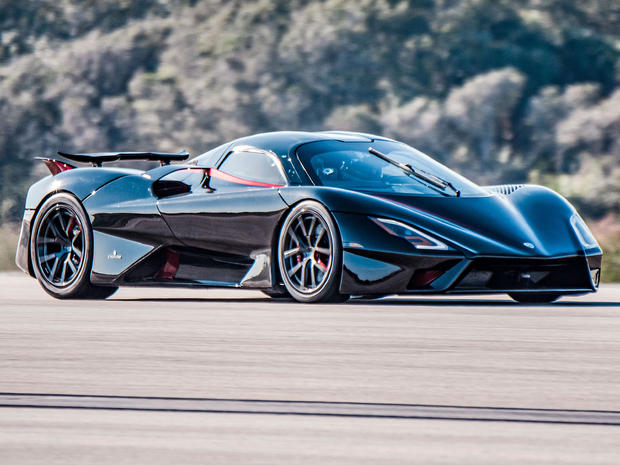 A SSC Tuatara is seen as hypercar company SSC North America attempted to break the record for the world's fastest production car at Kennedy Space Center in Florida January 17, 2021.