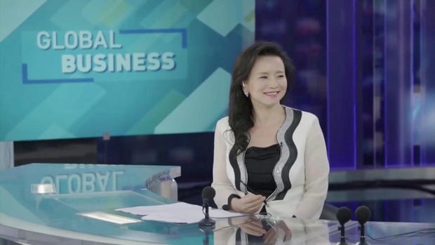 Australian journalist Cheng Lei is seen on a television set in Beijing