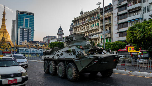 Military Armoured Vehicles Appear On Streets Of Yangon