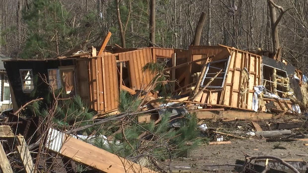 A structure is seen February 16, 2021, after an apparent tornado hit Brunswick County, North Carolina, overnight.
