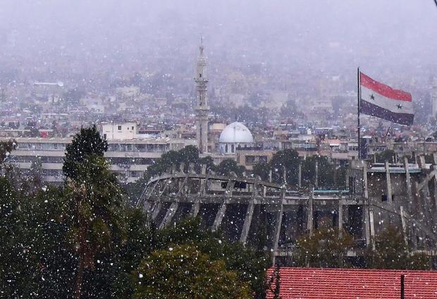 SYRIA-DAMASCUS-SNOW