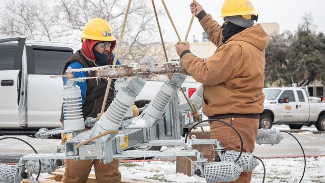 Texas — winter storm, power lines, frozen