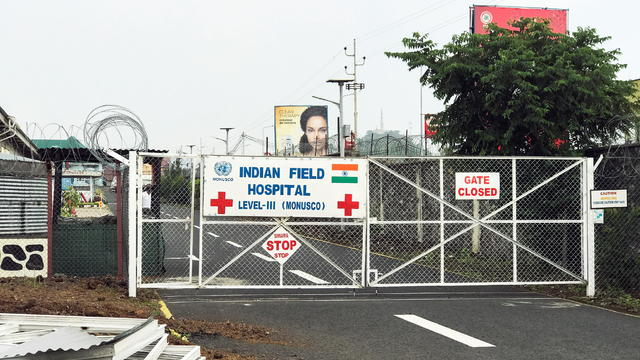 A general view of the locked entrance to the Level III Indian Field Hospital in Goma