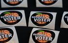 Georgia voter voting — I Voted sticker