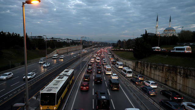 Traffic congestion after the curfew ends in Istanbul