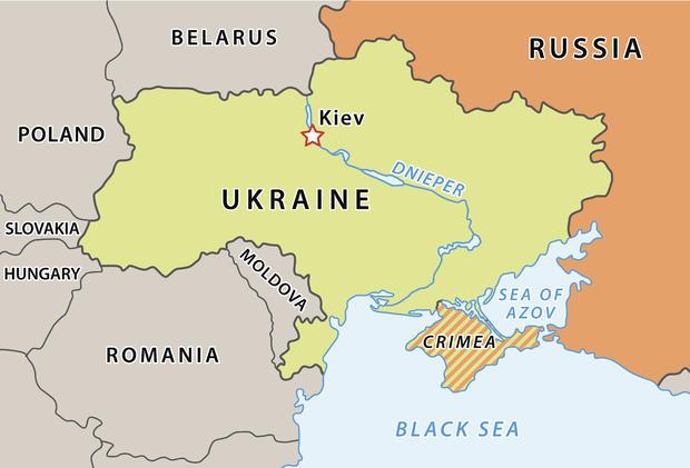 Ukraine map after Crimean crisis 2014