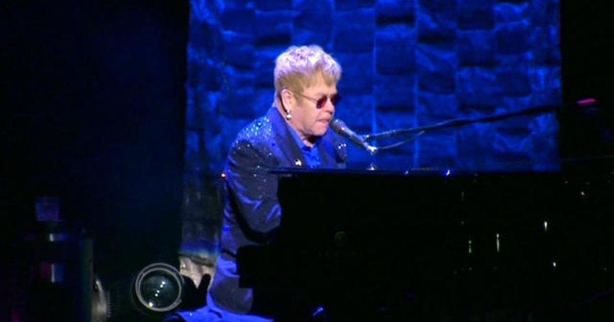Elton John performs at Hillary Clinton fundraiser