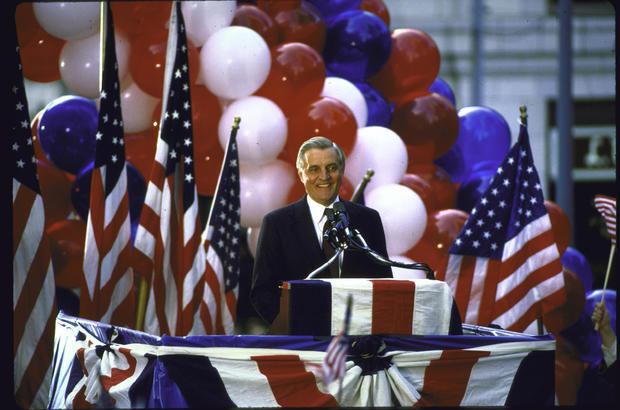 Walter F. Mondale speaking at a campaign rally