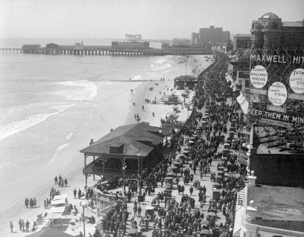 Aerial View of Crowds on a Boardwalk