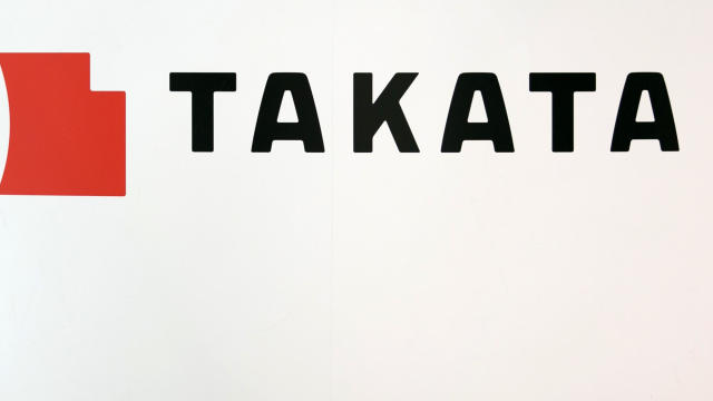 A Takata Corp. logo is seen on display at a car showroom on June 26, 2017, in Tokyo, Japan.