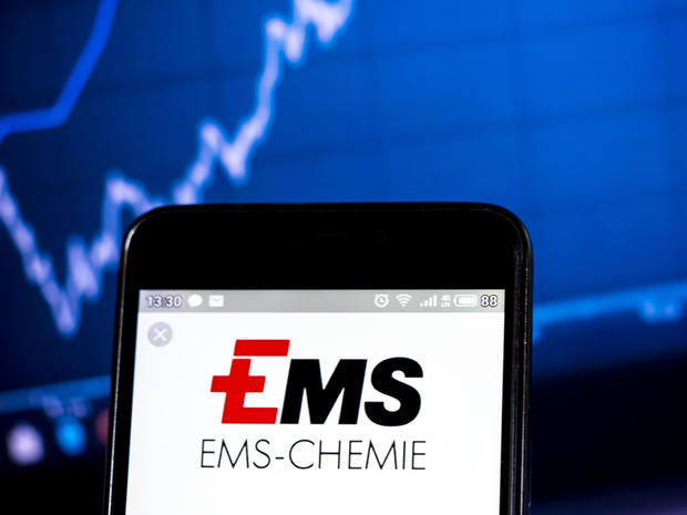 In this photo illustration a  Ems-Chemie Holding logo seen