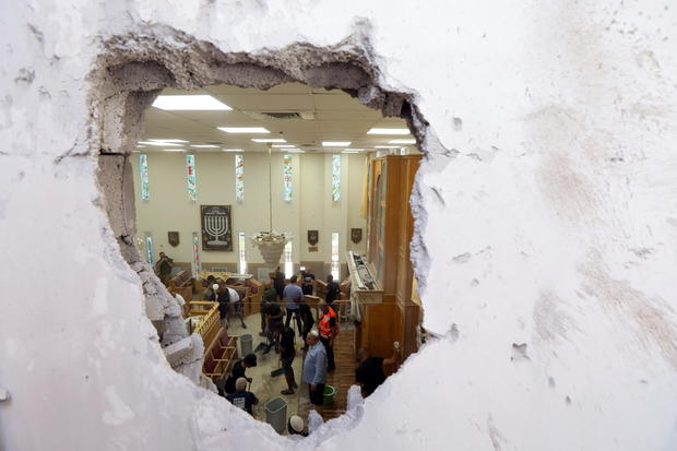 A view inside a synagogue damaged by a rocket, in Ashkelon