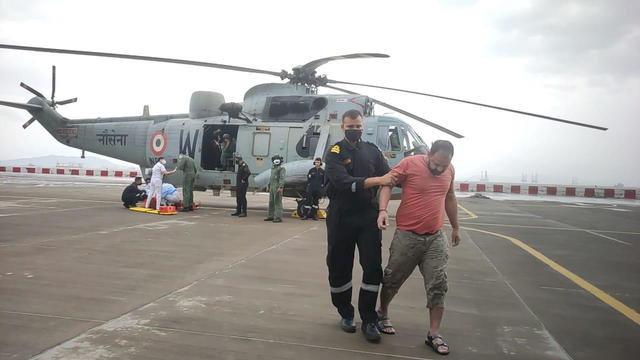 Indian Navy help people after cyclone Tauktae's landfall, in Mumbai