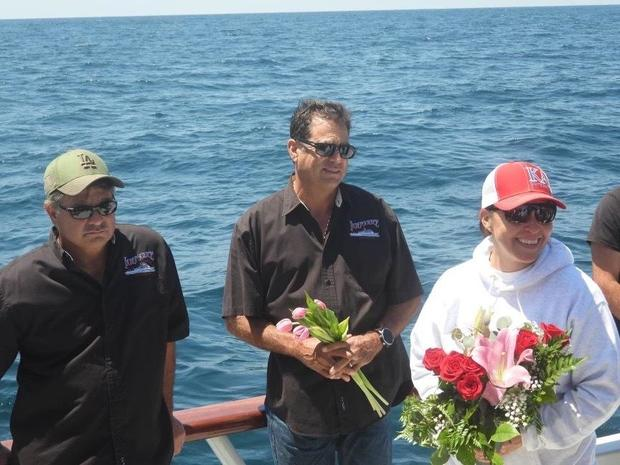 Desiree Rodriguez returned to site of the wreck she was found in with charter boat Captains Paul Strasser and Mark Pisano 35 years later.