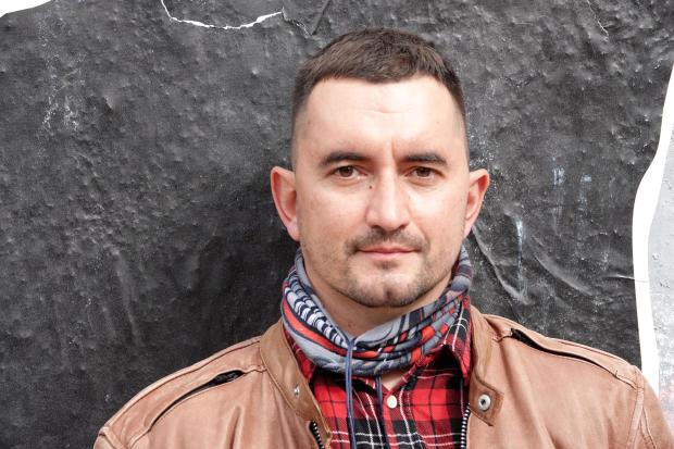 Stepan Latypov stands in Minsk, Belarus, September 15, 2020.