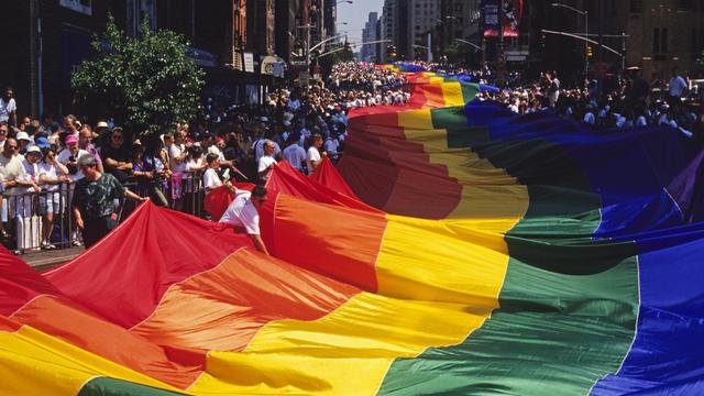 USA - Gay/Lesbian - Rainbow Flag at Pride Parade in New York