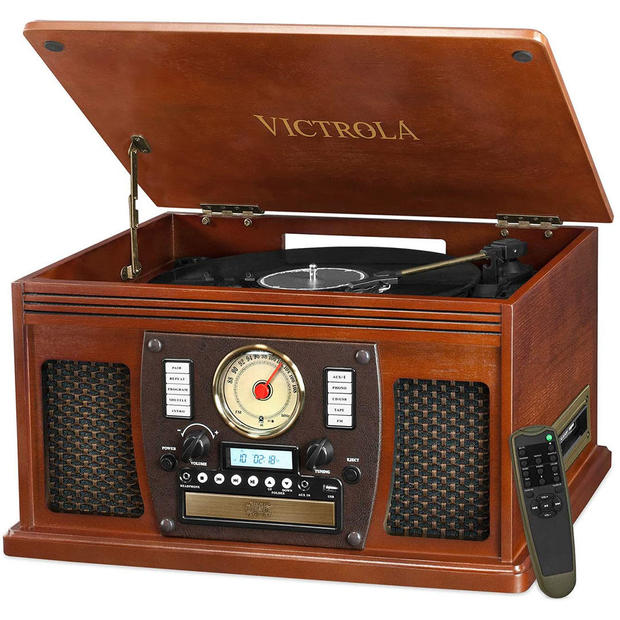 Victrola 8-in-1 Bluetooth Record Player & Multimedia Center, Built-in Stereo Speakers
