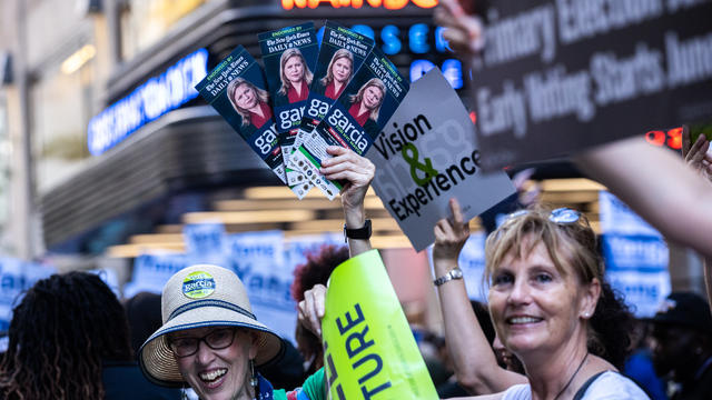 Supporters Gather Outside As New York City Mayoral Candidates Participate In Final Debate