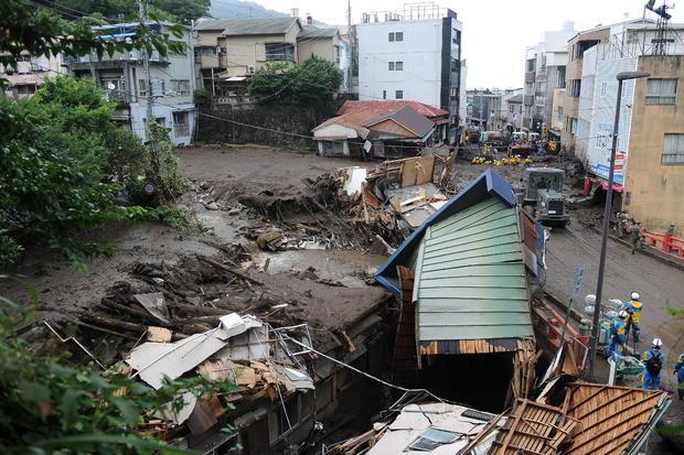 Landslide triggered by heavy rains in Japan