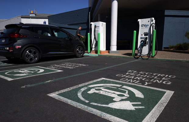 Electric car charging station in California