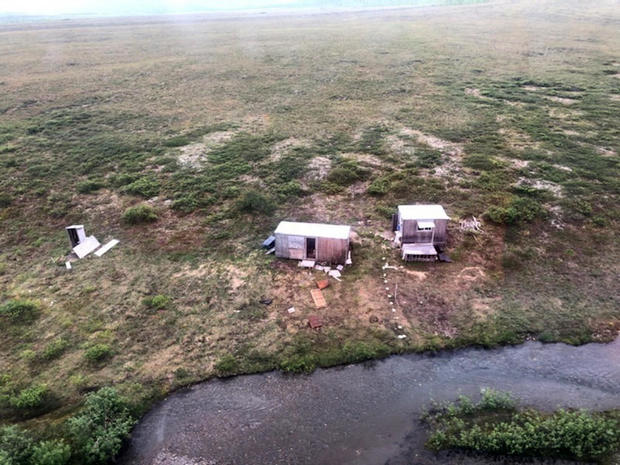 An aerial photo shows a remote mining camp near Nome, Alaska, where a U.S. Coast Guard helicopter crew rescued a survivor of a bear attack July 16, 2021.