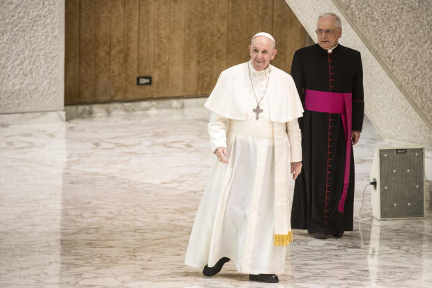 Pope Francis leads his general audience at the Nervi Hall on August 4, 2021, in Vatican City.