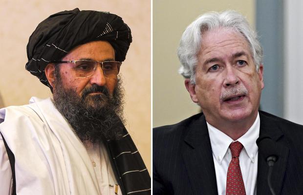 Split screen: Taliban leader Abdul Ghani Baradar and CIA Director William Burns