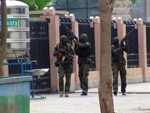 Special forces members are seen during an uprising that led to the toppling of president Alpha Conde in Kaloum neighbourhood of Conakry