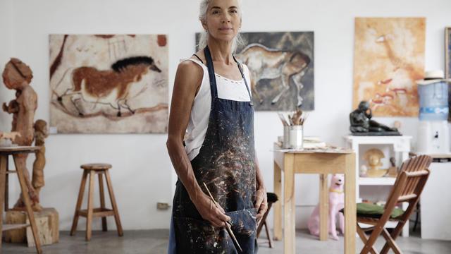 A femail artist in her studio