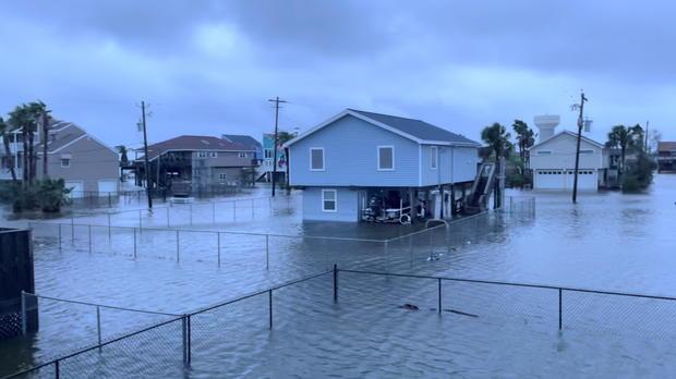 Flooding from Hurricane Nicholas in Jamaica Beach