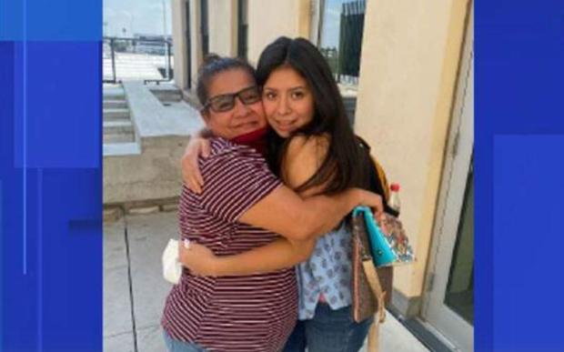 Angelica Vences-Salgado is reunited with her abducted daughter, Jacqueline Hernandez, on September 10, 2021.
