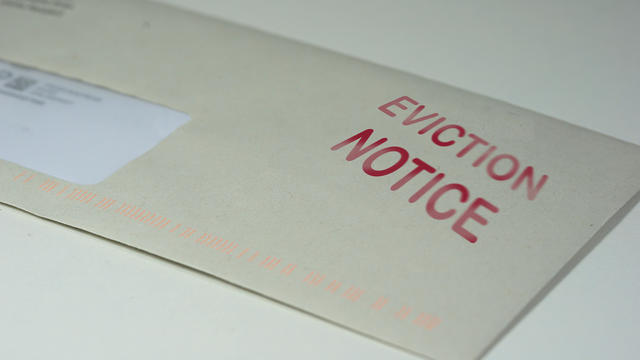 Envelop for an eviction notice to a defaulting renter in due to missed rent in recession