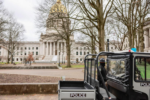 Police secure the West Virginia statehouse, which was mostly