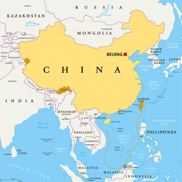 China, controlled and claimed regions, political map