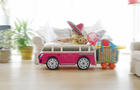 Child going on holiday in toy car